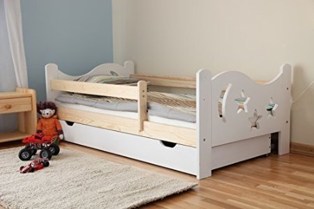 Kinderbett Jugendbett Juniorbett Massivholz mit Matratze 160x80cm (weiss) - 3