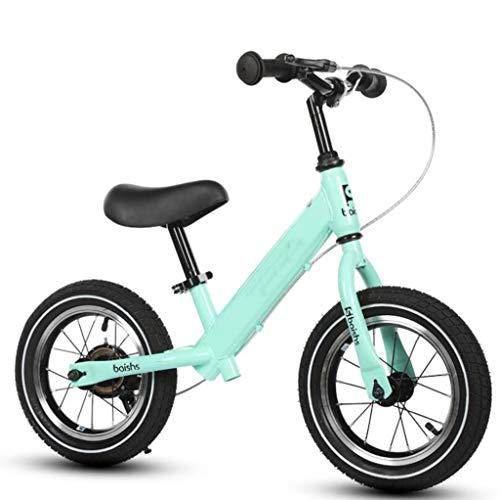 Bicicleta de equilibrio de 12 pulgadas para niños grandes de 3,4,5, 6, 7 años, con neumáticos de goma y freno de mano delantero, marco de acero, sin pedal, equilibrio
