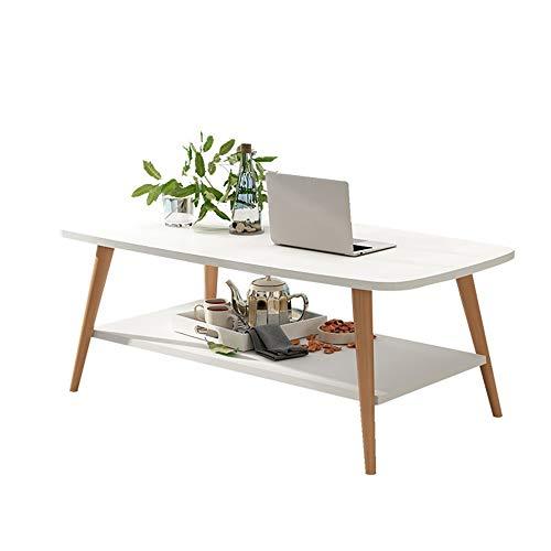 HAIZHEN Tables basses Table basse, table d'appoint de salon à 2 niveaux, table d'appoint, table de rangement multifonctionnelle 100 * 50 * 43cm, 4 couleurs (Couleur : A)