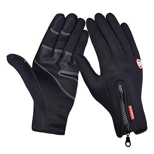 Minetom Touchscreen Handschuhe Wasserdichter Fahrradhandschuhe Outdoor Laufhandschuhe Winddicht Sports Handschuhe Für Herbst Oder Frühling Laufhandschuhe Für Fahren Skifahren Schwarz (PU) Large