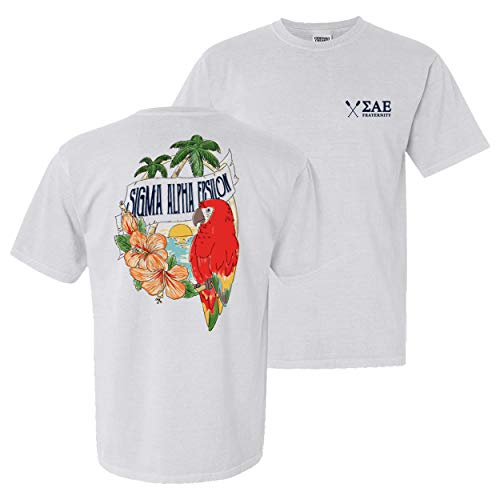 Sigma Alpha Epsilon Fraternity Greek Comfort Colors Tropical Tee SAE White