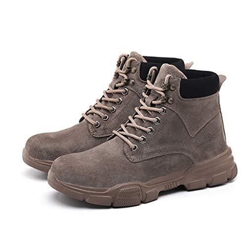 Zapatos de seguridad Botas de seguridad de la soldadura de la soldadura de la soldadura del gamuza ligero con la tapa de la punta de acero y el kevlar, el senderismo que trabaja en la cocina el calzad