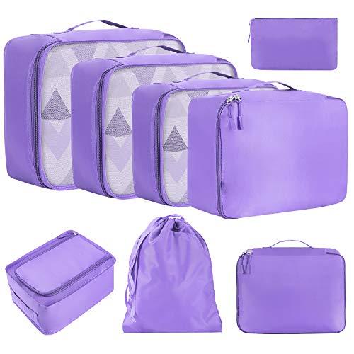 Amazon Brand - Eono 8 Set Cubos de Embalaje, Organizadores para Maletas, Equipaje de Viaje Organizadores, con Bolsa de Zapatos, Bolsa de Cosméticos y Bolsa de Lavandería - Púrpura