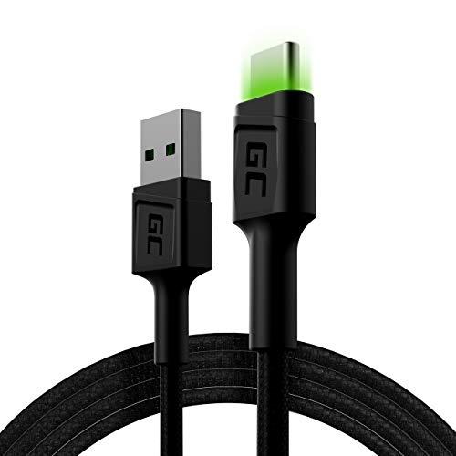 GC Ray LED | 1,2m USB C Cavo Tipo C Nylon Cavetto Cable di Ricarica | per Samsung Galaxy S21 S20 Ultra S10 S9 S8+ | Note 20 10 9 8 | A80 A71 A70 A50 A42 A41 A31 | Huawei Honor P40 P30 P20 P10 P9 Lite