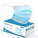 konjac mascherine monouso 50 pezzi, mascherina protettiva a tre strati per viso, mascherina di protezione usa e getta con elastic earloops per adulti