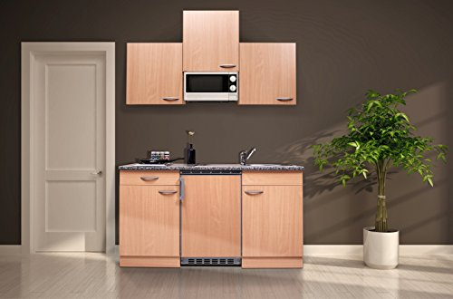 respekta KB150BBMI Single Küche Küchenzeile Küchenblock 150 cm Buche mit Mikrowelle