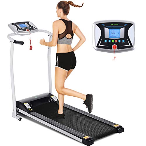 ANCHEER Treadmill, Folding Treadmills for Home, Running Machine with LCD Monitor, Electric Treadmill Pulse Grip Safety Key, Jogging Walking Exercise Running Machine for Apartment & Office Workout