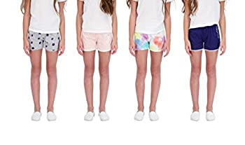 Star Ride Sweet Butterfly 4PK Girls Athletic Shorts Dolphin Yoga Shorts Girls Workout Clothes  Navy-Grey-Pink-Tie Dye 14-16