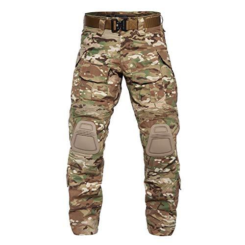 YEVHEV - Pantaloni tattici da uomo G3 militare americano mimetico Ripstop con ginocchiere per attività all\'aperto (senza cintura)