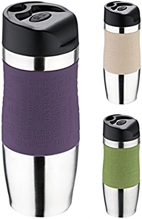 Preisvergleich für Thermobecher - Trinkbecher - Edelstahl/Kunststoff - 350 ml - Isolierbecher - Kaffeebecher - Coffee to go Becher - Farbe wählbar, Farbe:Lila