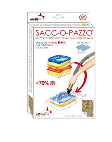 LAVATELLI SACCO SALVASPAZIO S, Set di 2 sacchetti sotto vuoto, salvaspazio, anti-muffa, anti-acari, misura Small 40x60cm, ideale per Maglioni, by Lavatelli