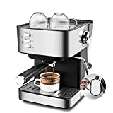NBLL Cafetera Tradicional Italiana de café Espresso, máquina de café Espresso de la Bomba Tradicional, con Espuma de Leche y 1500 ml de Tanque Visual, para Latte, Capuchino