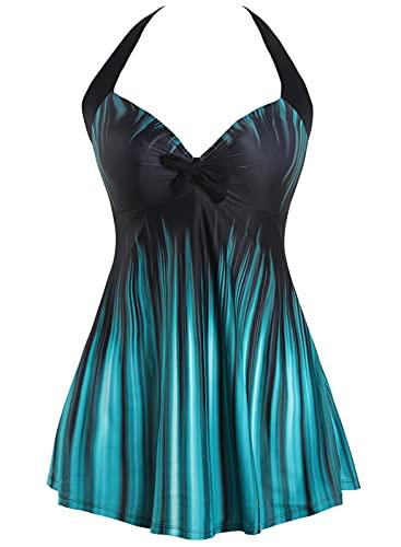 Sixyotie Damen Einteiler Badekleid Blumen Muster Gepolstert Badeanzug mit Shorts Große Größen Bademode (Gradient, EU 40-42(Tag XL))