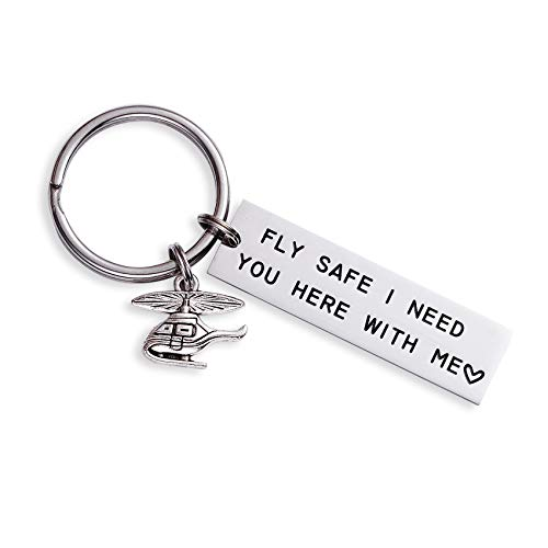 LParkin Fly Safe I Love You I Need You Here with Me Keychains Luggage Tag Flight Attendant Flight School Graduation Pilot Travel Gifts Stainless Steel (Fly Safe I Need You Here with Me Keychain)
