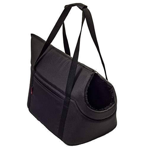 BOUTIQUE ZOO Hundetasche - Schwarz Schwarz/Minky, L bis 15 kg - Tragetasche für kleinen und mittleren Hund, Welpen, Katze