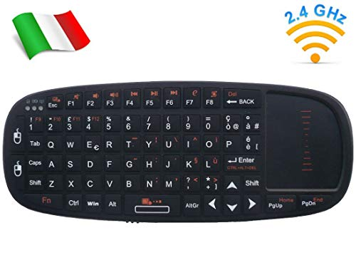 Rii Mini i10 Wireless (layout ITALIANO) - Mini tastiera wireless con mouse touchpad e puntatore laser per Smart TV, Mini PC, HTPC, Console, Computer
