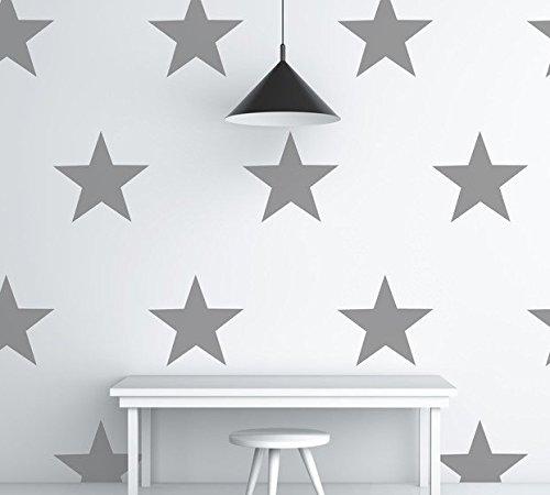 Estrellas pared pegatinas adhesivos de color gris paquete de 20cada uno a 15cm de ancho, vinilo, Gris, 20 stars each at 15cm wide
