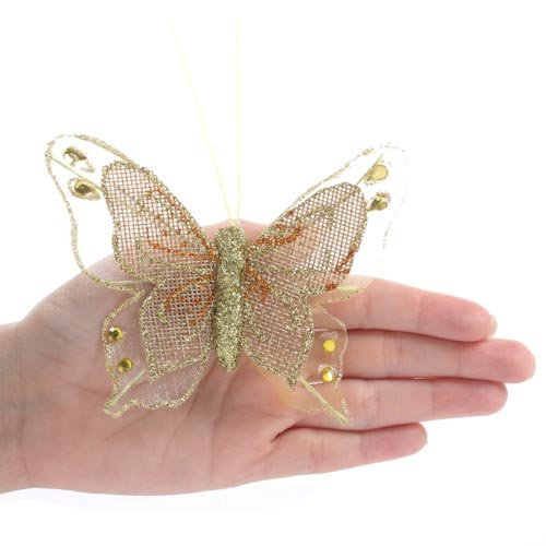 Factory Direct Craft Package of 12 Gold Burlap and Nylon Mesh Artificial Butterflies with Attached Alligator Clips for All Your Decorating and Embellishing Needs
