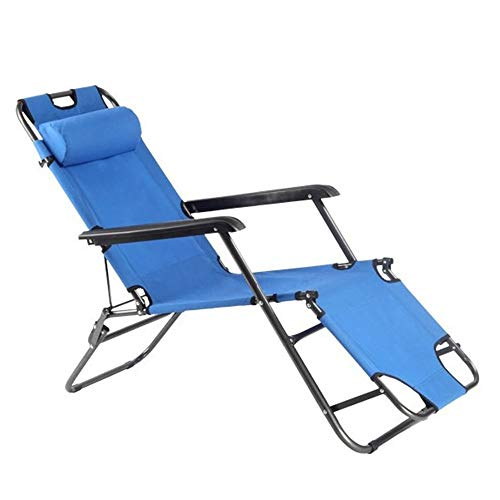 QinWenYan Klappbett Strand Liegestuhl Oxford Stoff tragbaren Liegestuhl geeignet for Garten Camping im Freien Metallbetten (Color : Blue, Size : 178x51x79cm)