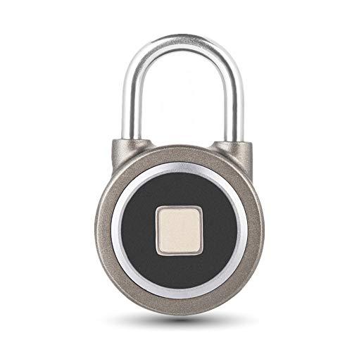 Candado con Huella Digital sin llave, Bluetooth Bloqueo, Cerradura Metal Impermeable Seguridad Antirrobo para Puerta Casa, Mochila, Maleta, Bicicleta, Compatibles iOS/Android APP