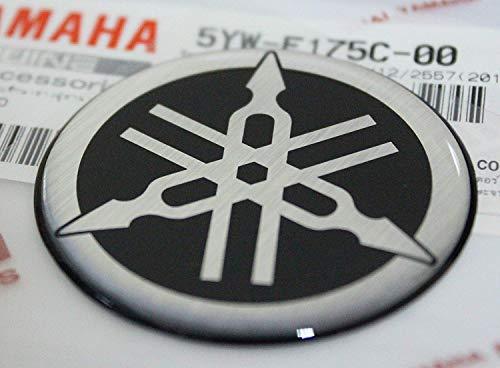 45mm Durchmesser Yamaha Stimmgabel Aufkleber Emblem Logo Schwarz Erhöht Gewölbt Gel Harz Selbstklebend Motorrad Jet Ski /Atv / Schneemobil