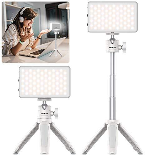 Videokonferenz Beleuchtung Set 1 Packung, VIJIM Wiederaufladbares Videolicht mit Tragbares Verstellbarem Stativ Ständer, Schreibtischlampe für Fernarbeit, Videoanruf,Unterricht, Livestreaming, Weiß