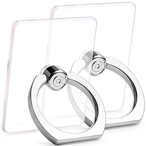 【2個入り】スマホリング透明薄型EISonadorホールドリング落下防止リングスタンド機能高品質車載ホルダー360回転iPhone/Android各種他対応(シルバー)