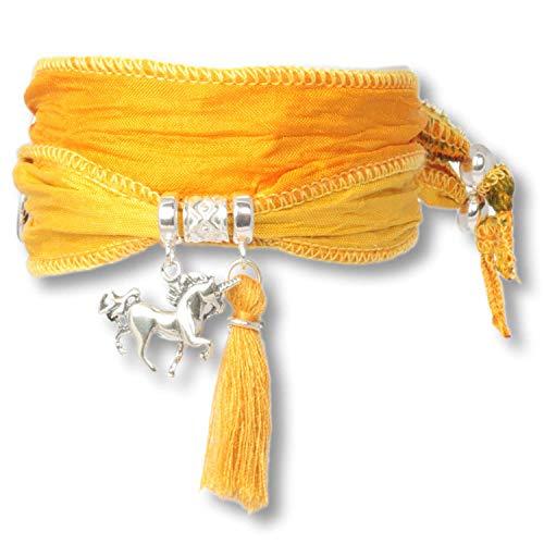 Anisch de la Cara Mujeres Pulsera Sahara Sun-Boho Unicornio Pulsera de Plata esterlina Hecha de Saris Indios Silver Symbols - Arte no 90913-c