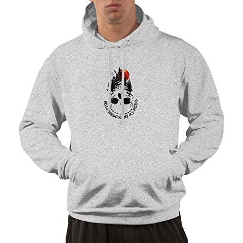 Hello Darkness My Old Friend Skull Mens Long Sleeve Hoodie Casual Pullover Hoodie Sweatshirt with Pockets Gray