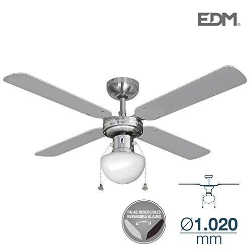 Ventilador de techo CARIBE 50W 85cm cromo 1xE27 60W EDM 33801 ...