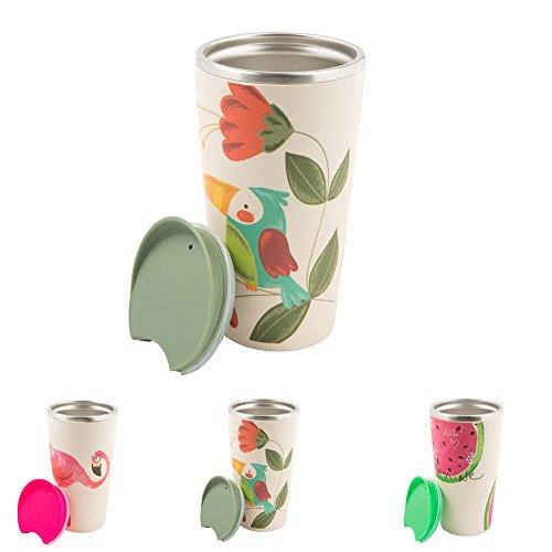 BIOZOYG Nachhaltiger Bambus Kaffee to go Becher Bamboo Cup mit Edelstahlkern, Drückverschluss I Reisebecher mit Deckel Bambusbecher Thermobehälter I Thermo Isolierbecher to go 400 ml Papagei