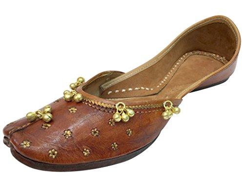 Step n Style Punjabi Jutti indische Schuhe flache Flop-Flop Khussa Schuhe Jaipuri Sandalen, Braun - hautfarben - Größe: 38.5 EU