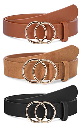3 Pack Women Leather Belts Faux Leather Jeans Belt with Double O Ring Buckle (Black & Brown & Khaki, L)