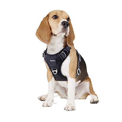 Funfox Dog Harness, No Pull Medium Pet Harness with 2 Clips, Adjustable Dog Vest Harness for Walking, Soft Padded Material Reflective Harness Ergonomic Handle Control Small Medium Puppy Black