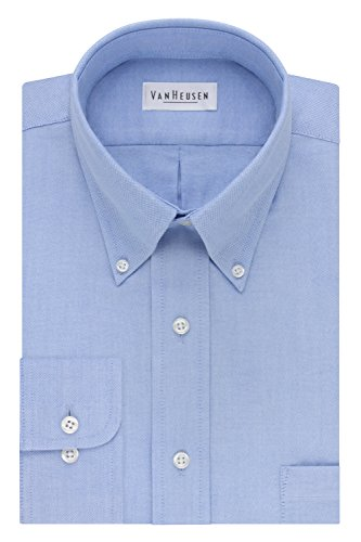 Van Heusen Men's Long-Sleeve Oxford Dress Shirt, Blue, 17.5 Neck 32-33 Sleeve