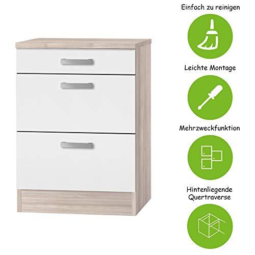 MMR Auszug-Unterschrank Küche DALLAS, 1 Schublade, 2 Auszüge, 60 cm breit, wechselseitig montierbare Tür, Weiß/Akazie Dekor
