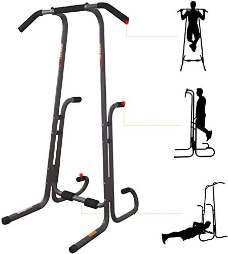 ISE Power Tower Tour de Musculation, Barre de Traction Chaise Romaine, Abdominaux, Dos et Triceps, Pull-ups, Multifonctions Station Dips pour Entraînement à la Maison, 130KG, SY-1074