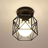 GUOGUOSM ヨーロッパのE27ペンダントランプLED天井ランプ防錆および防食鉄ランプランプシェード六角形レストランランプ廊下ランプ通路トイレバルコニー浴室入口ランプ,6-9畳、約10-15平方メートル、玄関、寝室、和室、キッチンに適しています