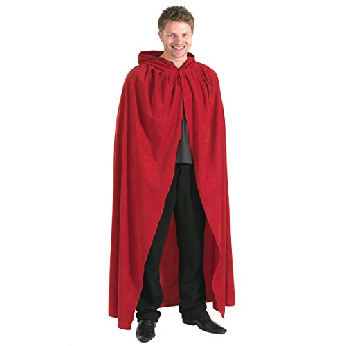 Charlie Crow Rouge. Déguisement Cape avec Capuche déguisement pour Adultes. Grand 183cm.