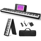 Eastar Piano electrónico plegable de 88 Teclas, Teclado Semipesado de Tamaño Completo para Principiantes, Teclado de Piano Digital Bluetooth con Bolsa de Piano, EP-10