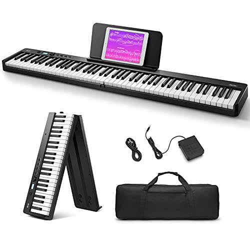 Eastar EP-10 Beginner Foldable Digital Piano 88 Key Full Size Semi Weighted Keyboard, Bluetooth Portable Electric Piano with Piano Bag