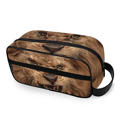 Animal Africain Lion De Stockage Trousse De Toilette Voyage Outils Cosmétique Train Cas Sac À Main Maquillage Sac Portable