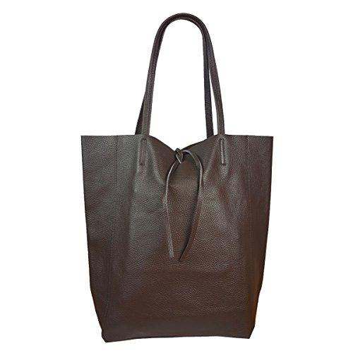 Freyday Damen Echtleder Shopper mit Innentasche in vielen Farben Schultertasche Henkeltasche Metallic look (Dunkelbraun)