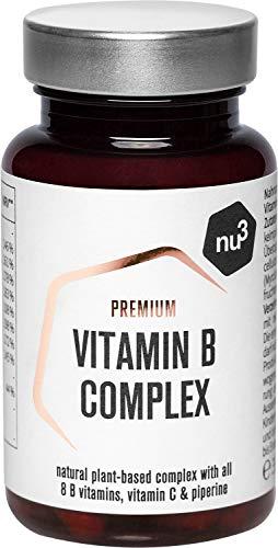 nu3 Premium Vitamin B-Komplex - 60 Kapseln natürliche B Vitamine in optimaler Dosierung – enthält alle B-Vitamine inklusive B12 – Glutenfrei, Vegan, ohne Zusatzstoffe