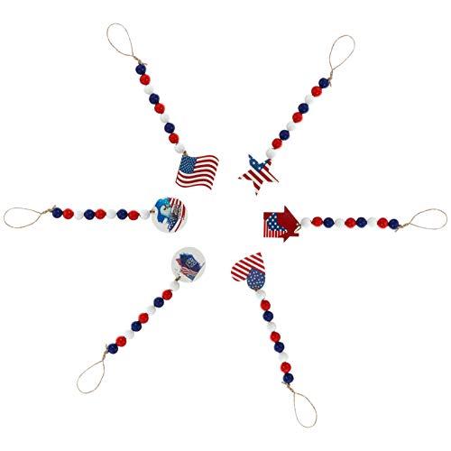 ABOOFAN 6 Piezas Bandera Americana Guirnalda de Cuentas Julio del 4 de Madera Guirnalda Granja Colgante de Pared Cuentas de Oración Adornos de Árbol para Decoraciones de Fiesta del Día de