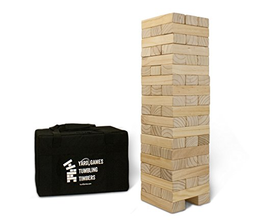 Yard Games Giant Tumbling Timbers with Carrying Case | Starts at 2.5-Feet Tall and Builds to Over 4-Feet | Made with Premium Pine Wood