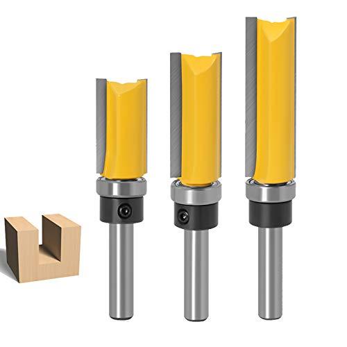 Set di 3 Fresa per fresatura con codolo da 8 mm, flush template Trim router bit punta diritta a doppia scanalatura, frese professionali per lavorazione del legno per taglio a scanalatura