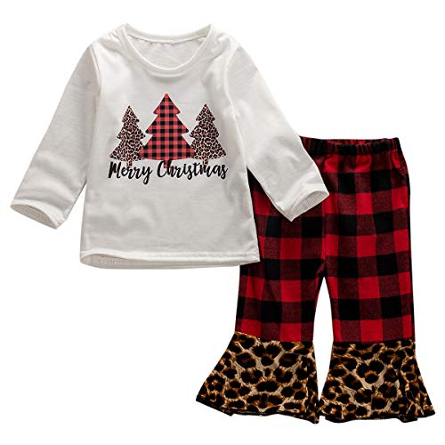Newborn Infant Baby Girl Printed Clothes Set Long Sleeve T Shirt Dot Bell-Bottom Pants (12-18 Months, A Merry Christmas)