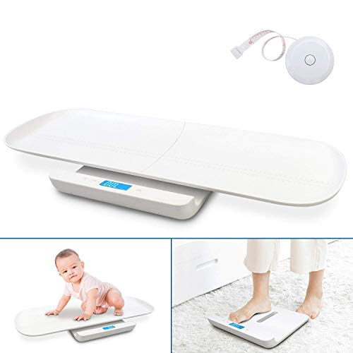 Baby Weight Scale USB charging, Multi-Function Digital Scale, Scales for body weight, Pet Scale, Infant Scale, Toddler Scale with Tape Measure & Battery, Max 220lbs