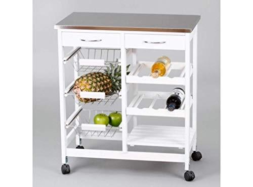 Closet, Carrellino da cucina, con ruote e 3 cestini in acciaio Inox, 76x67x37cm, Bianco